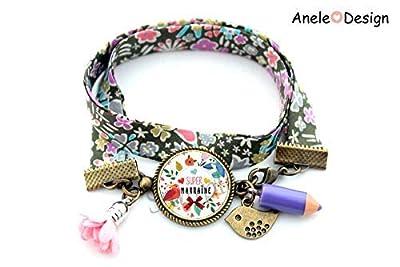 Bracelet marraine, Super marraine, fleur rose, crayon violet, cadeau marraine, oiseau, liberty