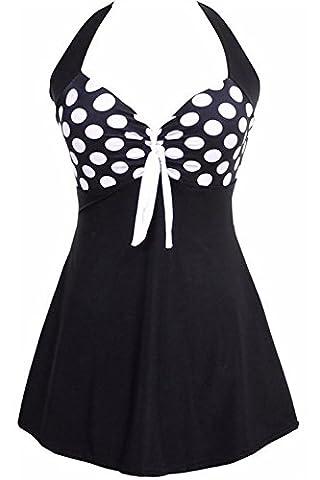 ALICECOCO Ladies Polka Bikini Dress Plus Size Swimming Costume Retro Beachwear Halterneck Swimsuit with Short (UK 16-18 ( 3XL ), Black Polka)