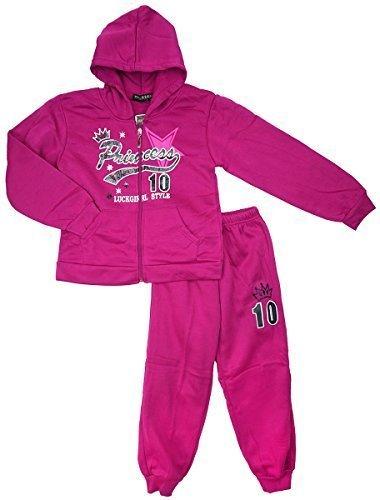 Mädchen Prinzessin Krone Reißverschluss Kapuzenpulli Trainingsanzug Jogginganzug Jogginganzug Outfit Satz Größen from 2 to 10 Years - Magenta, 10 (7-8 Years)