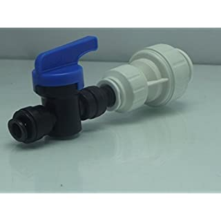 American Fridge Pipe Connector & Isolater, 15mm push fit to 6mm Shut Off Valve