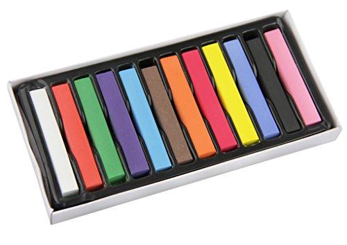 Haare Metallic Färben (Haarkreide Set Harre Farbe mit 12 Farben für den Heimgebrauch, ungiftig Haartönung waschbar Pastell Salon-Kit für Fasching, Partys,)
