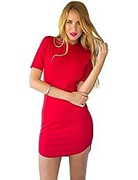 LookbookStore Damen Figurbetontes Minikleid mit halblangen Ärmeln Einfarbig