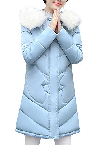 OMZIN Frauen Winter Kugellange Kurze Länge Tasche Mantel Pelz Abnehmbare SKY BLUE S (Mantel Für Frauen, Canada)