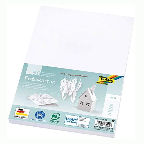 folia 614/50 00 - Fotokarton DIN A4, 300 g/qm, 50 Blatt, weiß - zum Basteln und kreativen Gestalten von Karten, Fensterbildern und für Scrapbooking -