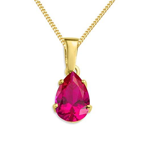 Miore Kette Damen Halskette mit Anhänger Edelstein/Geburtsstein Rubin in Rot aus Gelbgold 9 Karat / 375 Gold Halsschmuck 45 cm lang