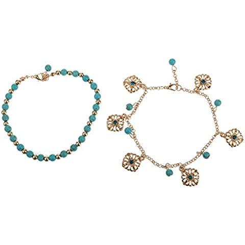 2pcs Cadena Tobillera Pulsera Bohemio Diamantes De Imitación De Color Turquesa De Flores Borla Del Tobillo