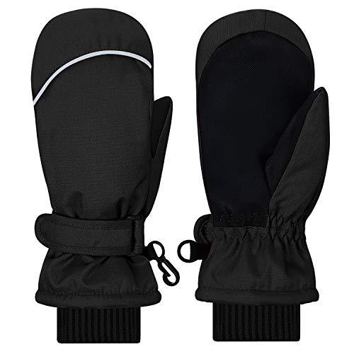 Kohmui Kinder Winterhandschuhe, Thermo Warm Handschuhe Atmungsaktive Fausthandschuhe Kinderhandschuhe Winddicht Ski Fäustlinge pink schwarz Baby Jungen Mädchen 2–7 Jahre