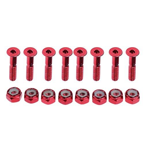 Unbekannt Sharplace 8 x Schrauben und Muttern für Skateboards, Schrauben Länge: ca. 2,54 cm - Rot (Muttern Skateboard Und Schrauben)