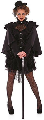 Damen Schwarz Gothik Viktorianisch Witwe Halloween Kostüm Kleid Outfit 8-22 Übergröße - Schwarz, 12-14