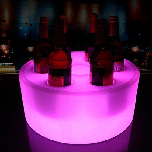 rmig Tabletts Kreisförmig Wasserdicht Kunststoff 16 Farbe Ändern Wein Show Stand mit Fernbedienung zum Bar Parteien Dekoration (Farbe : 7 ()