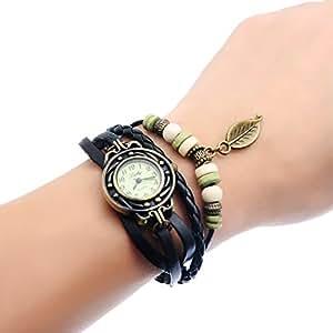 Retro Weave Wrap Around Leather Bracelet Lady Wrist Watch Quartz Watch (black)