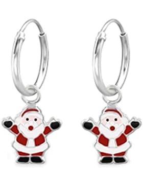 SL-Silver Ohrringe Creolen fröhlicher Weihnachtsmann Nicolaus 925 Silber in Geschenkbox