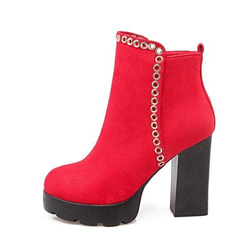 AllhqFashion Damen Hoher Absatz Pu Eingelegt Knöchel Hohe Stiefel mit Metalldekoration Rot