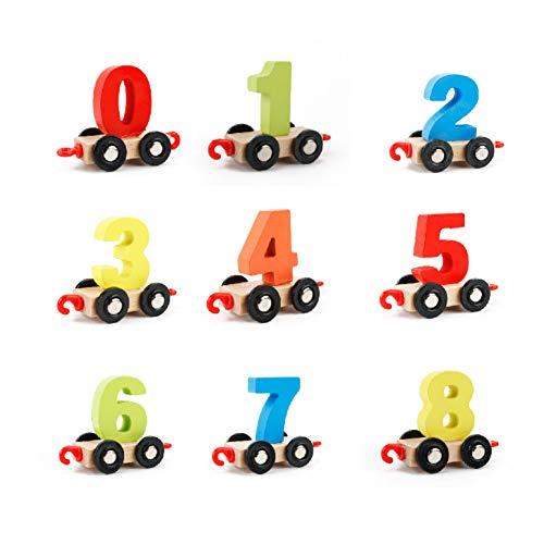 TrifyCore Holzeisenbahn mit Zahlen Lernspielzeug Feinmotorik der Hand-Augen-Koordination Spielzeug für Kinder Form Anzahl Zählen Lernen und Farbe 1Set -