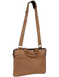 Handicraft Jute Executive Gents Hand Bag Beige SAN00359