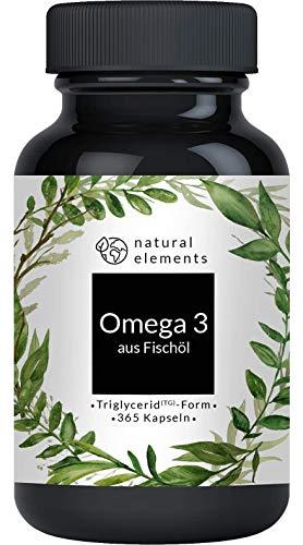 Omega 3 Fischöl Kapseln 1000mg - 365 Kapseln - Einführungspreis - Premium: Triglycerid-Form - Laborgeprüft, aufwendig aufgereinigt und aus nachhaltigem Fischfang