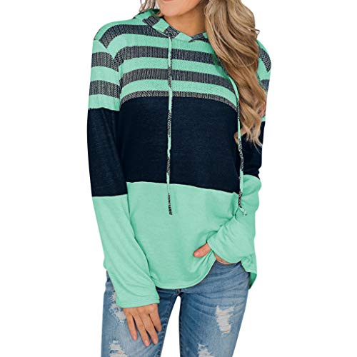 Hoodies Sweatshirt for Womens Sale BOIYI Long Sleeve Hooded Striped Strappy Casual T-Shirt Pullover Tops(Mint Green,L) - Short Sleeve Striped Khaki