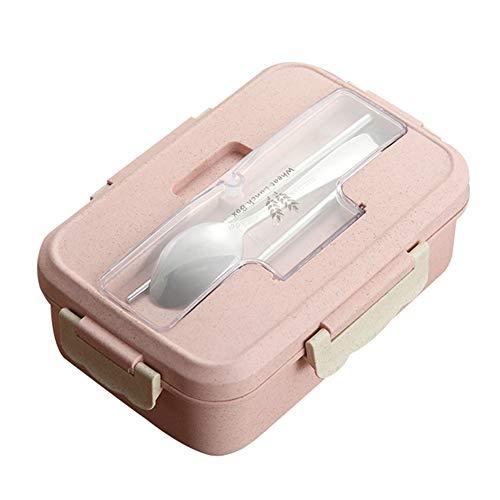 CAheadY 1000ml Bento Lunch Box Löffel Essstäbchen Set Weizenstroh Lebensmittel Vorratsbehälter Pink (Rosa Lego-lunch-box)