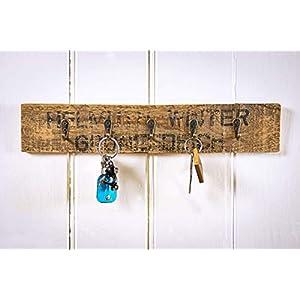 Schlüsselbrett mit 5 Haken, Schlüsselboard aus Altholz Obstkiste Apfelkiste aus Holz