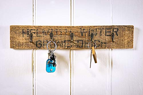Schlüsselbrett mit 5 Haken, Schlüsselboard aus Altholz Obstkiste Apfelkiste aus Holz (Haken Schlüsselbrett)