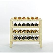 Botellero para vinos CALAGRANO, madera maciza, para 24 botellas, apilable - alt 64 x anch 70,6 x pr 30,7 cm