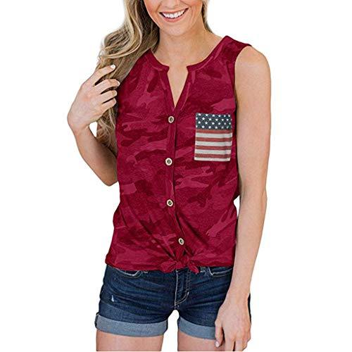 Bellelove Tank Tops Der Amerikanischen Flagge Der Frauen 4. Juli Lose Ärmellose Camouflage Bowknot Streifen Patriotische T-Shirts -