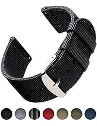 Archer Watch Straps | Bracelets de Remplacement en Nylon Facilement Interchangeables pour Montre Homme et Femme, Aussi pour Montres Connectées | Noir, 20mm