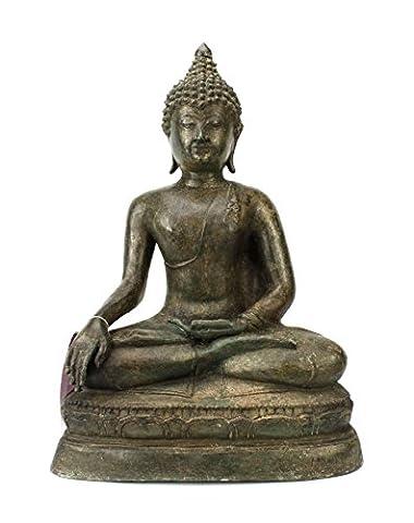 Thai Bouddha assis Statue en métal bronze, environ 45cm de
