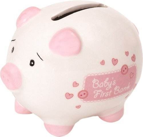 Suki Baby 10009 - BabyŽs First Piggy Bank, Piccolo Salvadanaio di Ceramica A Forma di Maialino, Bianco e Rosa