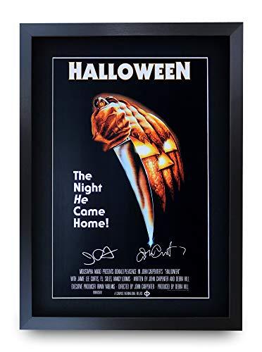 HWC Trading Halloween A3 Gerahmte Signiert Gedruckt Autogramme Bild Druck-Fotoanzeige Geschenk Für John Carpenter Jamie Lee Curtis Filmfans (Die Mit Filme Halloween Curtis Lee Jamie)