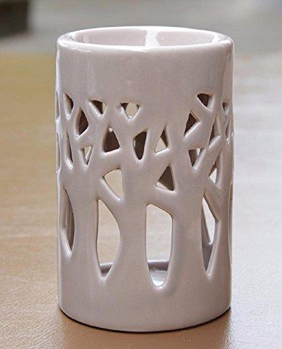 Aromalampe Duftlampe Wald aus Keramik grau 11 cm