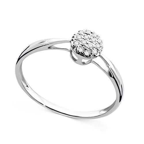Orovi anello donna con diamanti taglio brillante ct 0.07 in oro bianco 9 kt 375