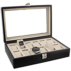 Dulwich Designs Connoisseur Collection Black Leather 12 Piece Watch Box with Suede Feel Lining Perfect For Breitling Omega Cartier Rolex Tag Heuer Tissott Longines Rotary etc