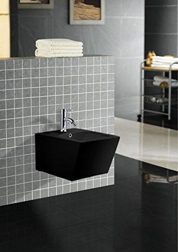 Art-of-Baan® - Design Wand Bidet in schwarz, Keramik mit Nano Beschichtung (Lotuseffekt); (31513B)