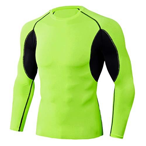 Funktionsshirt Herren Langarm Kanpola Patchwork Stretch FunktionsunterwäSche Compression Shirt Men Kompressionsshirt Wandershirt Atmungsaktiv Sweatshirt Laufshirt -
