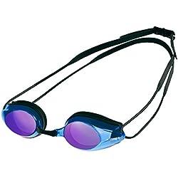 Arena Tracks Mirror Gafas de Natación, Unisex Adulto, Negro/Azul, Universal