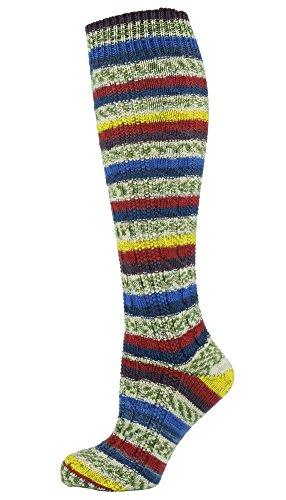 Mysocks Knie hoch irisch Jungfrau Wolle Socken Fairisle Blaue creme rot