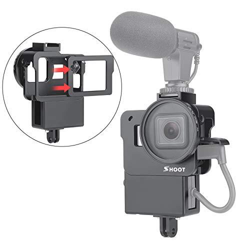 SHOOT Schutzgehäuse Fall Aluminiumlegierung Vlogging Film Rahmenrahmen Halterung mit Mikrofon Kalter Schuhadapter für GoPro Hero 7/6/5 Action Kamera Zubehör Mic Zubehör