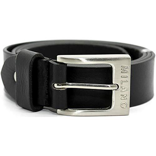 "Milano Mens Full Grain Leather Belt - 1.5"" (40mm) - Black Brown # ML-2920 - Black, Small"