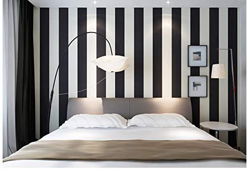 Carta da parati moderna 0.53 x 10m, classica carta da parati a righe bianco e nero moderno minimalista non tessuto a strisce verticali tv sfondo muro soggiorno