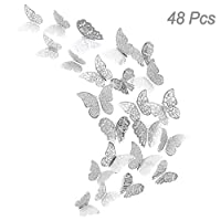 48Pcs Butterfly Decorations, Creatiees 3D Wall Decals|Metallic Art Sticker, DIY/Handmade/ Removable/Pressure Resistance Paper Murals Gift for Home Kids Bedroom Nursey Party Décor (Silver Style)