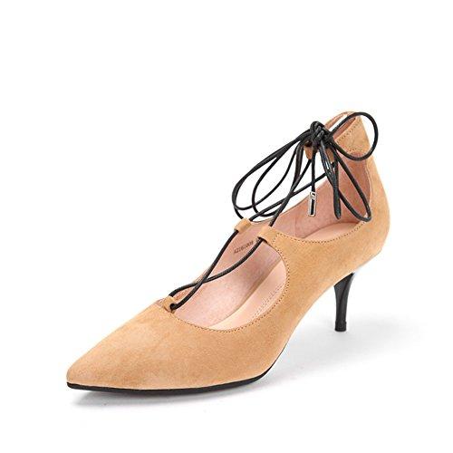 Molla trasversale tacchi strappy/Scarpe a punta in pelle pregiata/Scarpe leggere B