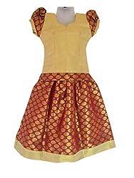 Pkd Girls Ethnicwear Pattupavada RED / Golden