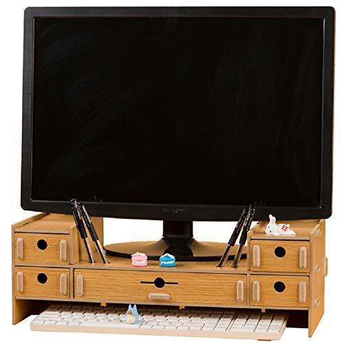 SanQing Monitorständer mit 5 Schubladen, Monitorständer aus Holz, PC-Ständer mit Aufbewahrung, Schreibtisch-Organizer aus Holz,goldoak