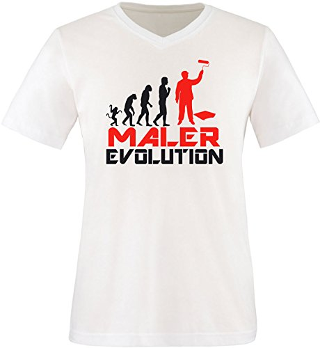 EZYshirt® Maler Evolution Herren V-Neck T-Shirt Weiss/Schwarz/Rot