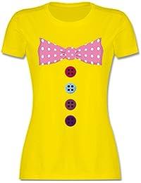Karneval & Fasching - Clown Kostüm Rosa Fliege - Damen T-Shirt Rundhals
