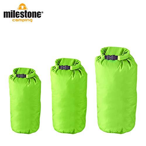 Milestone - Sacchi impermeabili da campeggio (confezione da 3), colore verde
