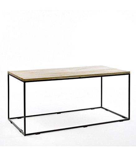 Table Base Rectangulaire Métal Noir et Bois de Manguier
