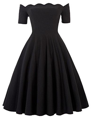 Sommerkleid kurz schwarz audrey hepburn schwingen rockabilly kleid cocktailkleid Größe M...
