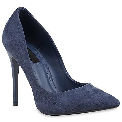 Spitze Damen Pumps Stilettos Lack High Heels Elegant Schuhe 133895 Dunkelblau 38 | Flandell®